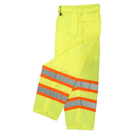 Radians Class E Surveyor Hi-Viz Mesh Safety Pants - High visibility yellow drawstring waist work pants with reflective strips and pockets