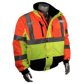 Radians Class 3 Hi-Viz Multi-Color Bomber Jacket - Yellow and orange high visibility work jacket with front buttons and zipper and reflective strips