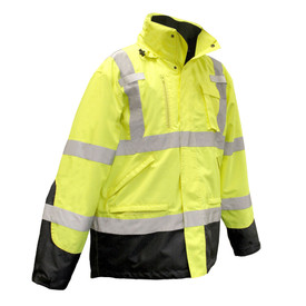 Radians Class 3 Hi-Viz 3-in-1 Removable Fleece Liner Parka - Weatherproof yellow and black high visibility jacket with front zipper, buttoned flap, and reflective strips