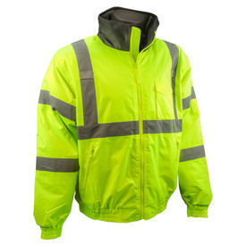 Radians Class 3 Hi-Viz Quilted Winter Bomber Jacket - High visibility yellow jacket with front zipper, elastic wrists and waist, and reflective strips on shoulders and arms