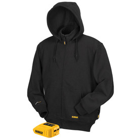 DeWalt Heated Black Hoodie - black zippered safety hoodie jacket with hand pouch pocket, cuffs and one power tool.