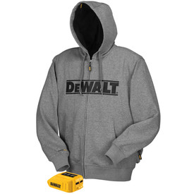 """DeWalt Heated Gray Hoodie - zippered safety hoodie jacket with hand pouch pocket, cuffs and one power tool. Black """"DeWalt"""" text on chest area."""