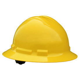 Radians Headgear Quartz Brim Style Hard Hat - Yellow full circle brim standard style hard hat with top and side ridges