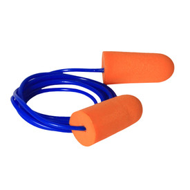 Radians Worker Economy Starter Kit - soft orange bullet shaped foam safety ear plugs with thin blue cord