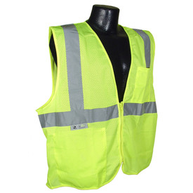 Radians Worker Hi Visibility Deluxe Starter Kit - hi-visibility bright yellow and light orange mesh neck shade for hard hats with elastic attachment and reflective strips . Side view.