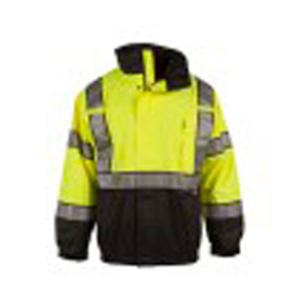 Radians - Neese ANSI Class 3 Removable Liner Bottom Black Bomber Jacket - High visibility black and yellow safety jacket with front zipper, reflective strips and elastic wrists and waist
