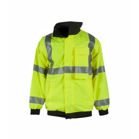 Radians - Neese Hi-Viz Removable Fleece Liner Bomber Jacket Class 3 - High visibility yellow safety jacket with front zipper, buttoned flap, reflective strips and elastic wrists and waist - front view