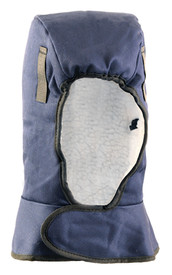 Occunomix 2 Layers Cotton Lined Shoulder Sherpa - Occunomix head protective liner with white soft lining and blue exterior with a Velcro neck flap