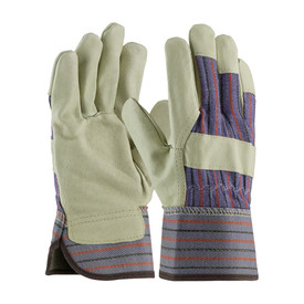 PIP Safety Gloves with safety cuff, wing thumb and leather knuckle strap and fingertips.