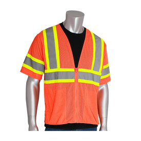 PIP High Visibility Orange Class 3 mesh vest with sleeves and grey on yellow 2 tone striping around the waist, around both sleeves and over the shoulders.