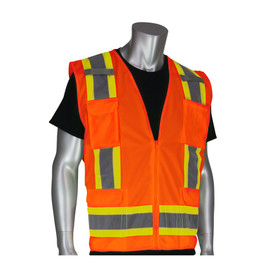 PIP High Visibility Orange Class 2 solid front vest with grey on yellow 2 tone striping around the waist and over the shoulders.