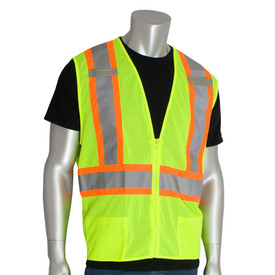 PIP High Visibility Yellow Class 2 mesh vest with grey on orange 2 tone striping around the waist and over the shoulders and front zip closure.