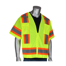 PIP High Visibility Yellow Class 3 solid front vest with grey on yellow 2 tone striping around the waist and over the shoulders.
