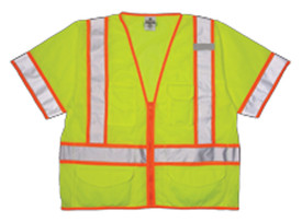 ML Kishigo 6 Pocket Mesh Zipper Class 3 Vest - Front view of ML Kishigo high visibility yellow vest with silver on orange reflective stripes going up both sides, over the shoulders and around the waist with two reflective bands around the arms. Two lower outside pockets with flap closure, Right chest divided pocket and left chest radio pocket, two interior pockets. Zip front closure and left chest mic tab.