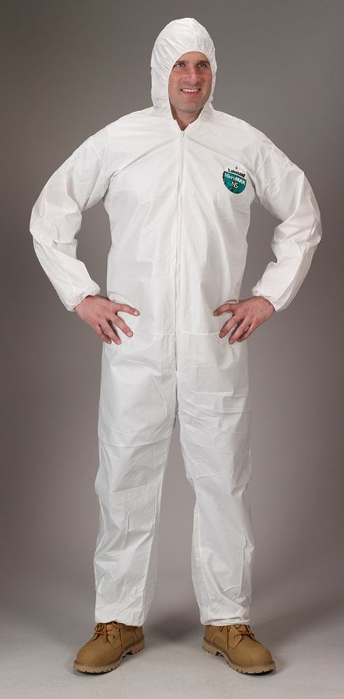 18209f003245 Lakeland MicroMax NS Attached Hood Coverall - General Purpose white disposable  Coverall with Zippered Front