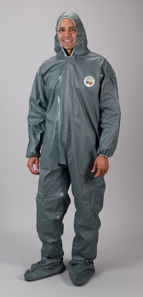 bd01483f650b Lakeland FR Chemical Pyrolon CRFR Attached Boots Coverall - Front View of a  man wearing a