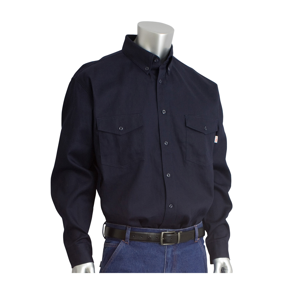 df2302b93006 PIP Flame Resistant HRC 2 Button Dress Work Shirt - Navy blue long sleeve  collared button ...