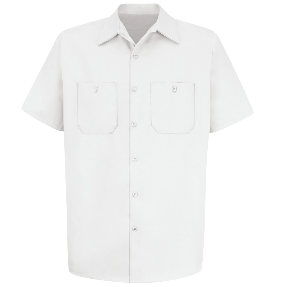 893fd5ae356 ... Red Kap Cotton 7 Button 2 Pocket Wrinkle Free Work Shirt - Red Kap  white short ...
