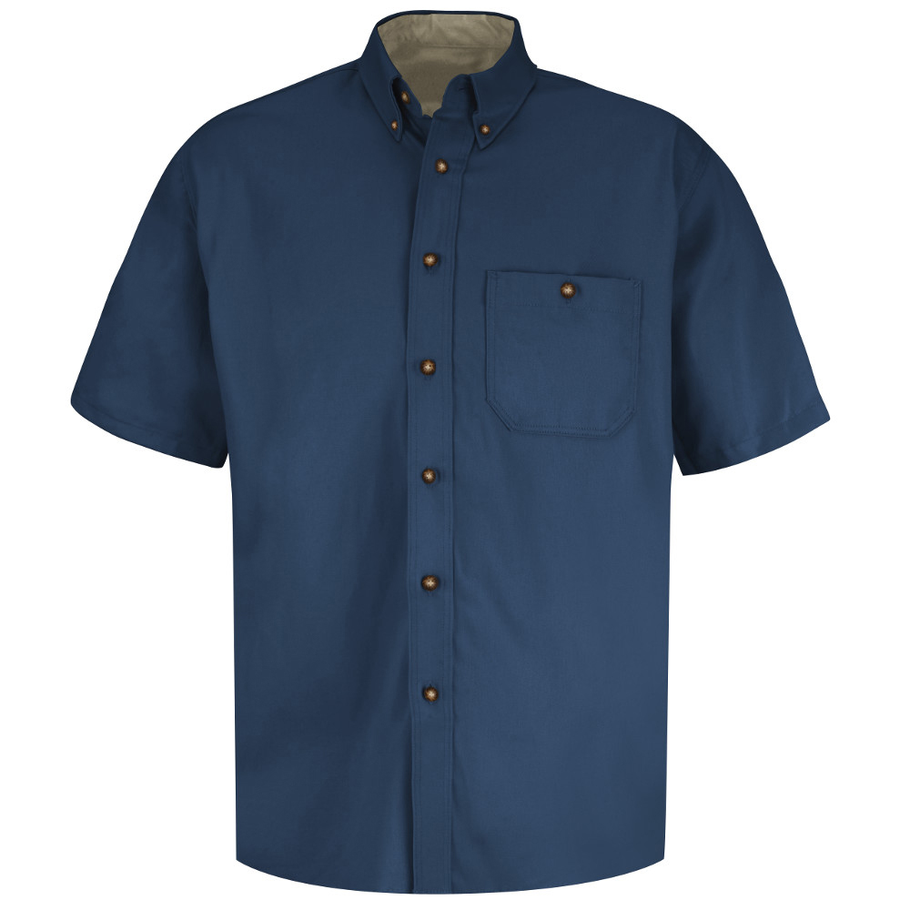 947c8e46e99 ... Red Kap Men s Cotton Wrinkle Free Dress Work Shirt - Red Kap navy blue short  sleeve ...