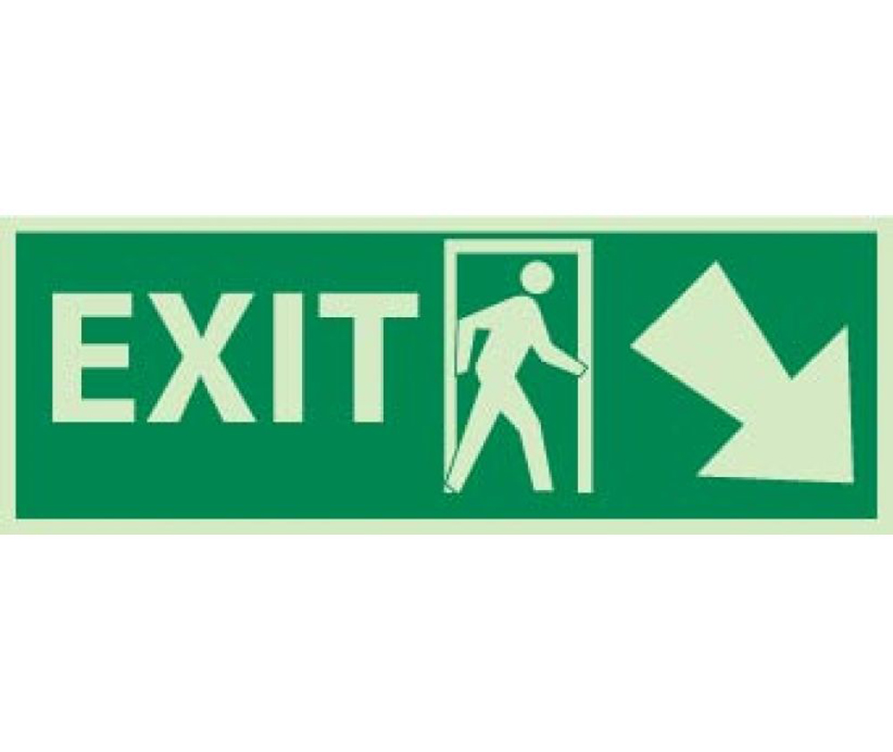 Exit Right Down Arrow Graphic Glow Sign Aris Industrial Supply