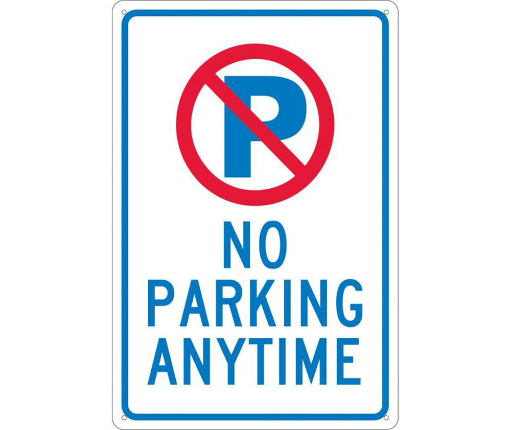No Parking Anytime Graphic Aluminum Sign Aris Industrial Supply