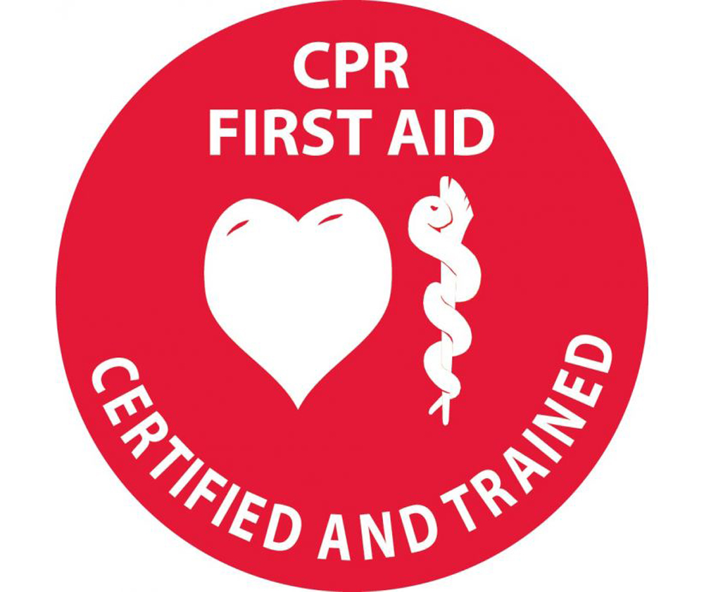 Cpr First Aid Certified And Trained 2 In Hard Hat Label Aris