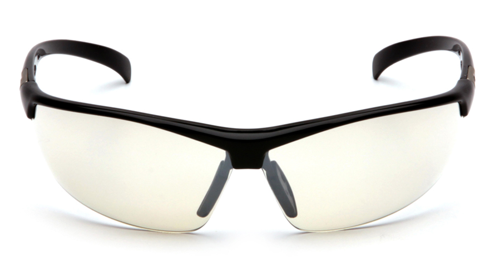 fe81ba5148e ... Pyramex Forum PVC Nose Piece Safety Glasses - Black half frame safety  glasses with mirrored scratch ...