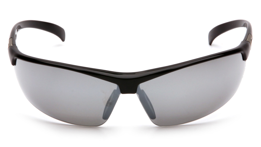 24f2c0fbbcd ... Pyramex Forum PVC Nose Piece Safety Glasses - Black half frame safety  glasses with silver mirrored ...