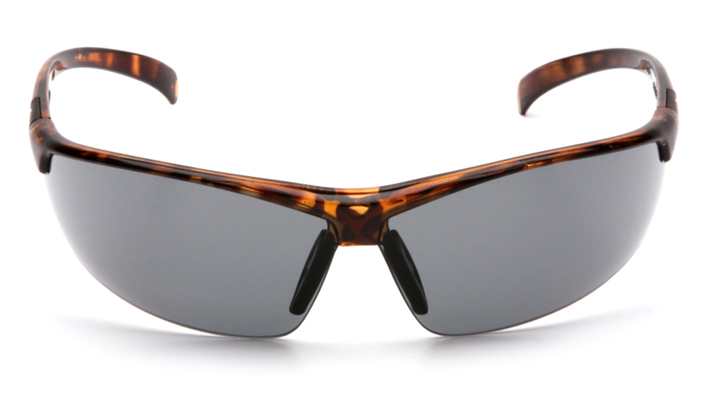 16660ca3765 ... Pyramex Forum PVC Nose Piece Safety Glasses - Brown spotted half frame safety  glasses with gray ...