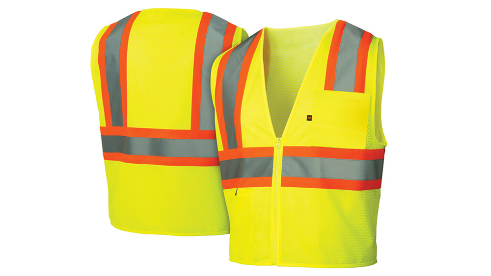 a9dee9cf8c7c ... Pyramex Class 2 Flame Retardant 2-Tone Trim Safety Vest - Front and  Back View ...