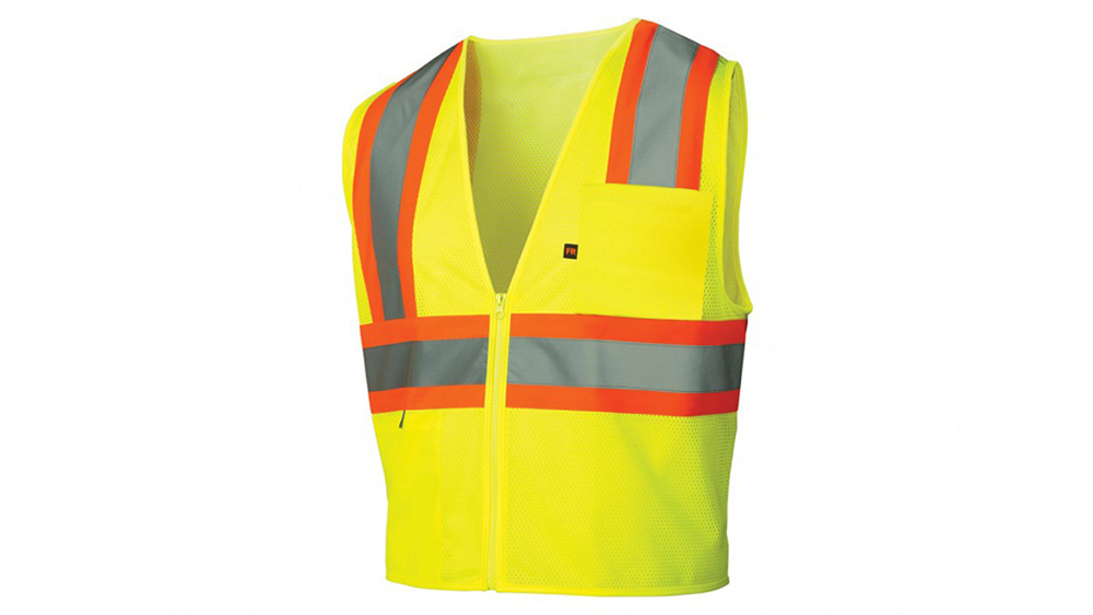 f4cee8f22469 Pyramex Class 2 Flame Retardant 2-Tone Trim Safety Vest - Front View of Hi  ...