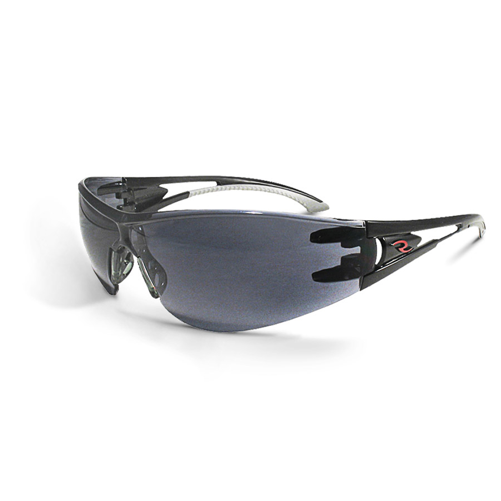6533f9a5093 ... Radians Optima Extra Curved Lens Protection Safety Glasses - black and  white frameless wrap around safety ...