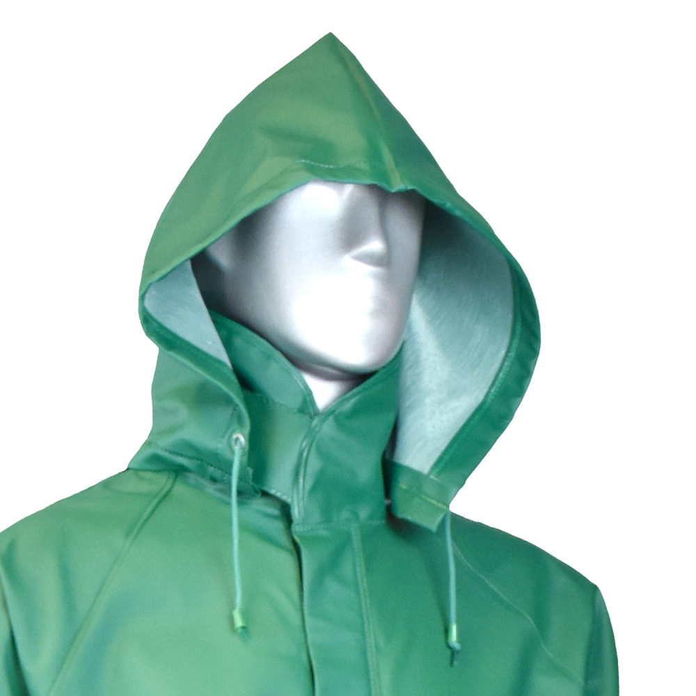 fe8c81ae96a A man ma mannequin wearing radians green rain long sleeve hooded jacket  with full collar jpg