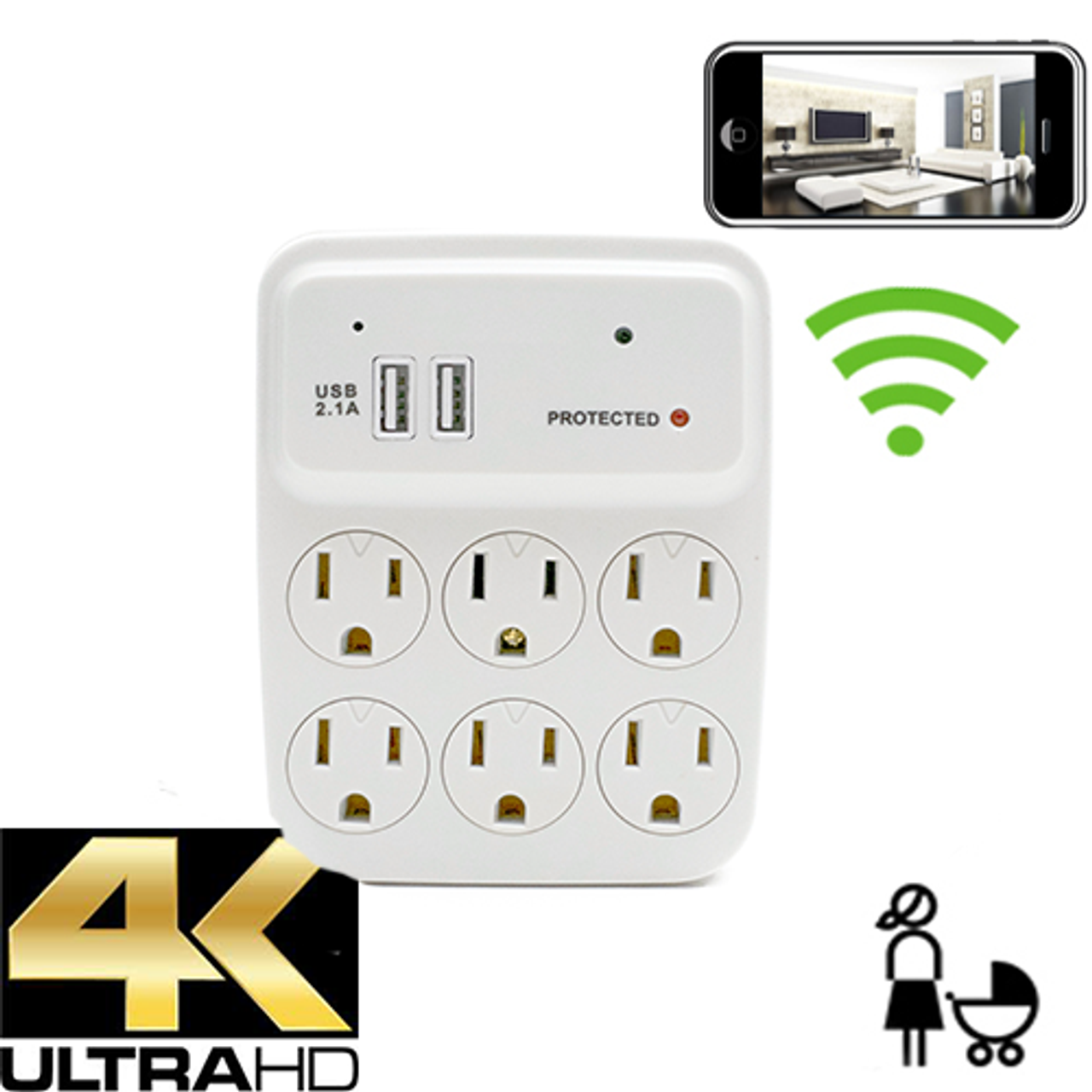 4K WiFi Outlet Nanny camera w/ Dvr-Wireless Streaming Video/ Mobile Viewing/SD Card Recording