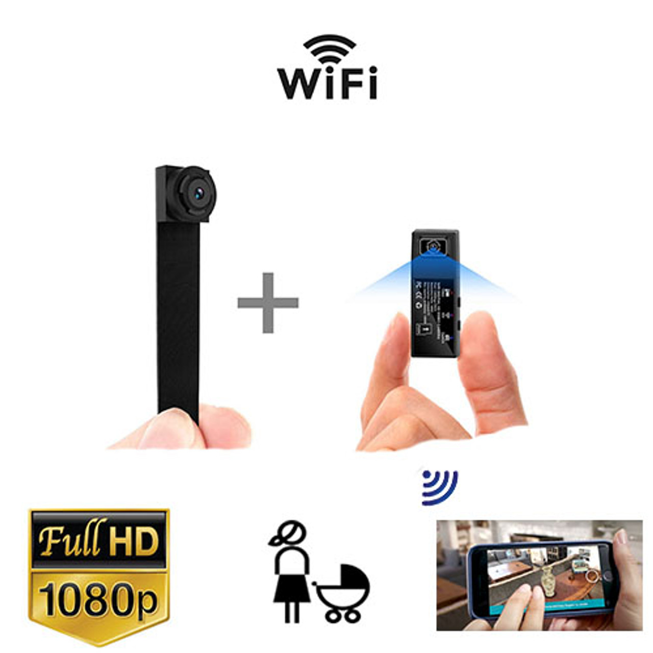 WiFi Camera HD 1080P Portable Wireless Small IP Camera Nanny Cam with Interchangeable Lens/Motion Detection for Home Office(Upgraded APP)