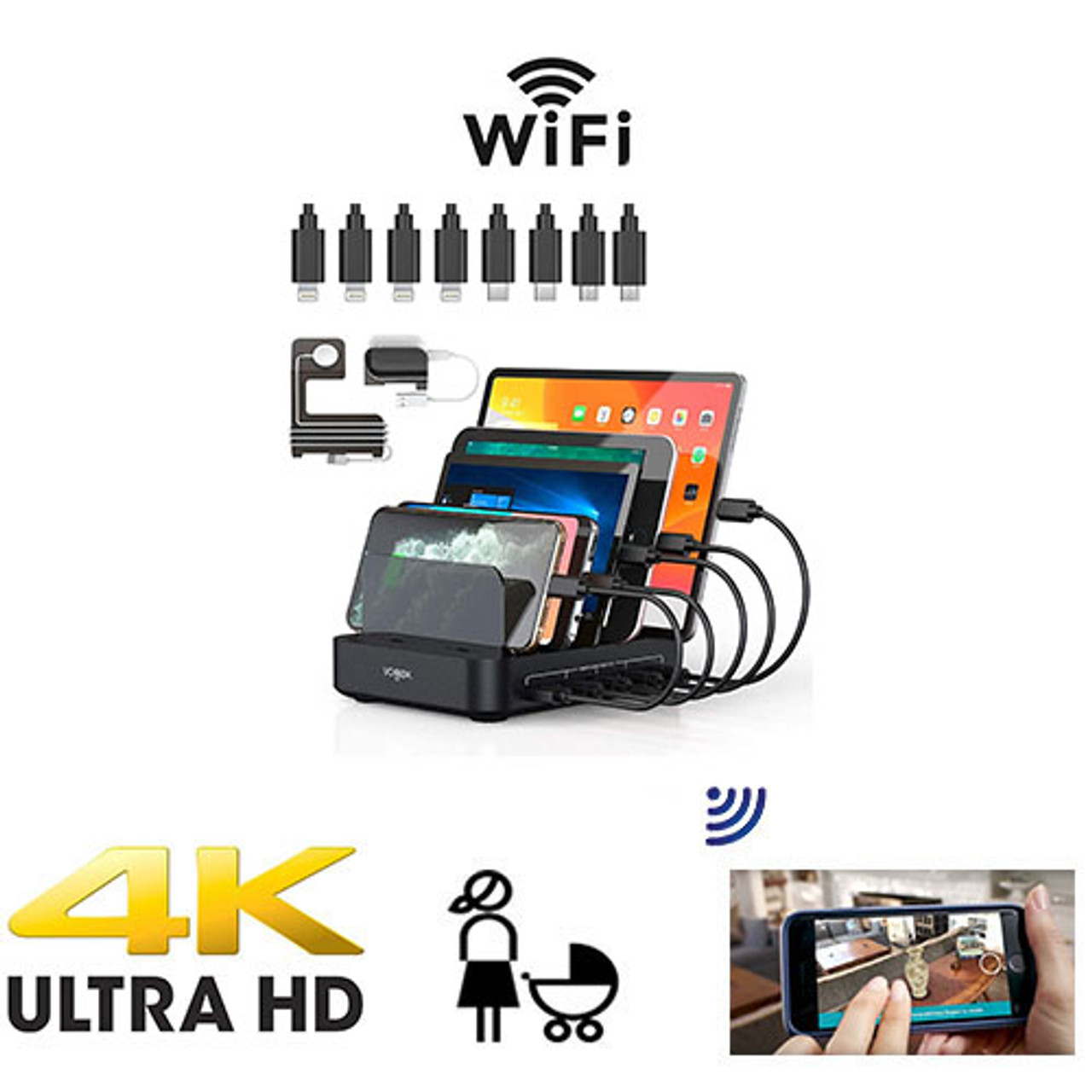 UHD 4k USB Outlet Tap Hidden Spy Camera Includes a 128 gig sd card W/ Live View WiFi + Dvr