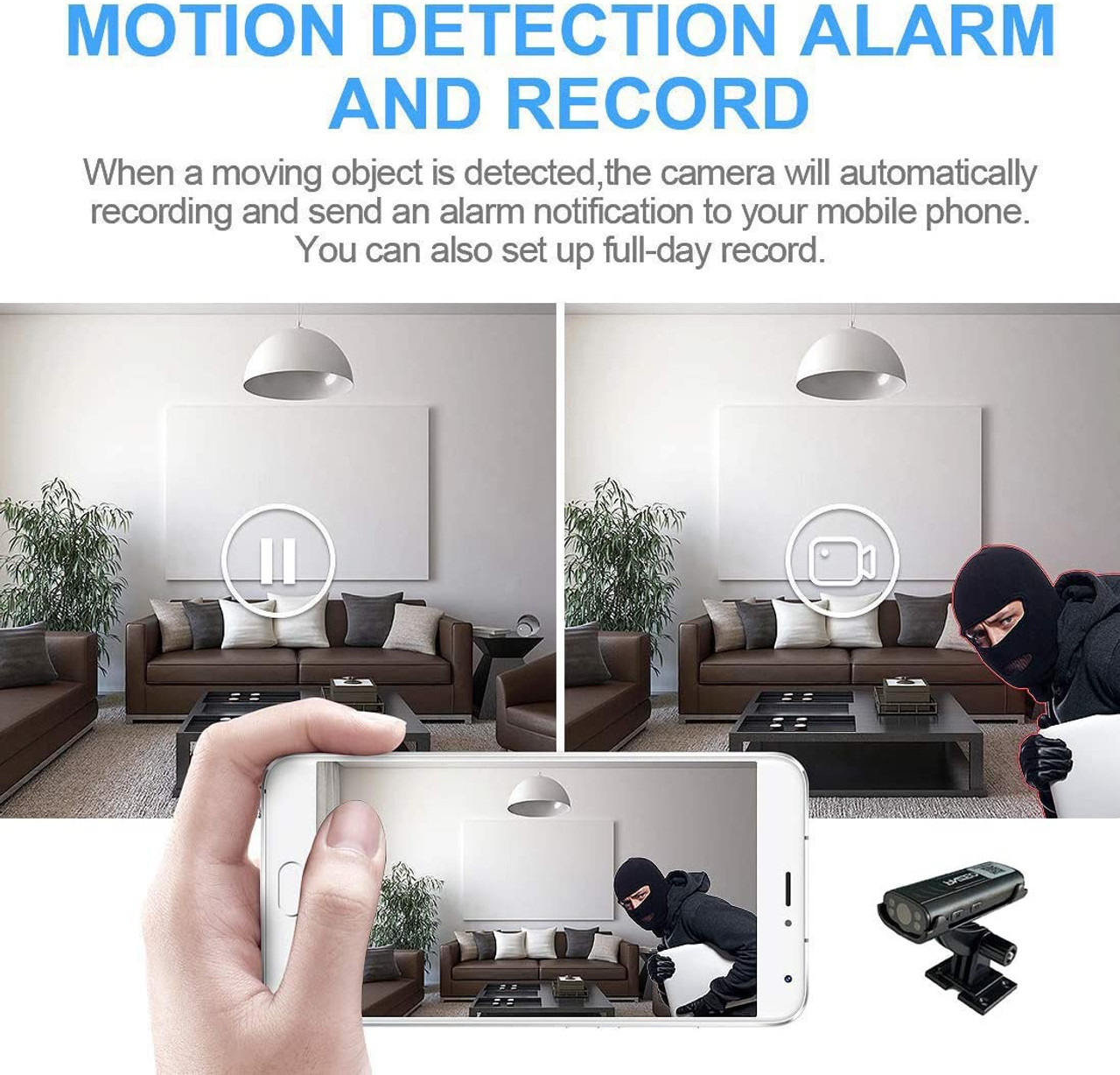 Portable Wireless WiFi Remote View Camera With Audio - Home Security Cameras Indoor Outdoor Video Record Smart Motion Detection with night vision