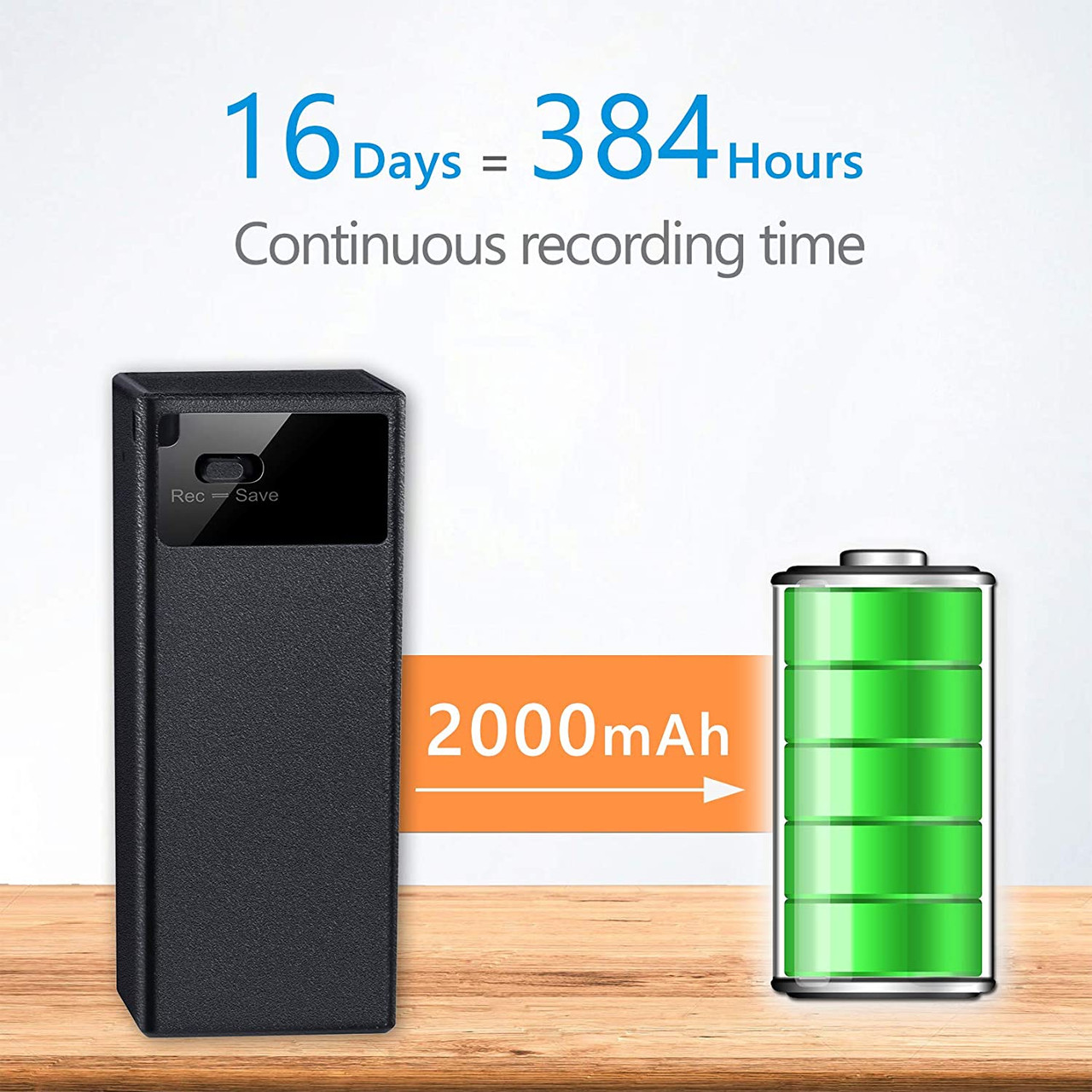64GB Small Voice Recorder with 365 Days Standby, 16 Days Recording Time and 750 Hours Storage Capacity, Long Battery Life Audio Recorder with and Playback Earphone