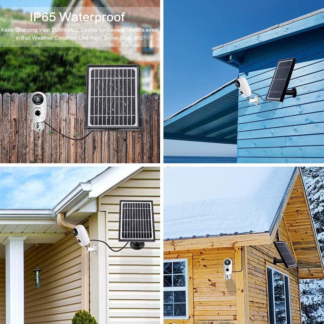 Solar Powered Surveillance Camera with Rechargeable Battery, 1080P Night Vision, Motion Detection, 2-Way Audio, IP65 Waterproof, Cloud Storage/SD Slot