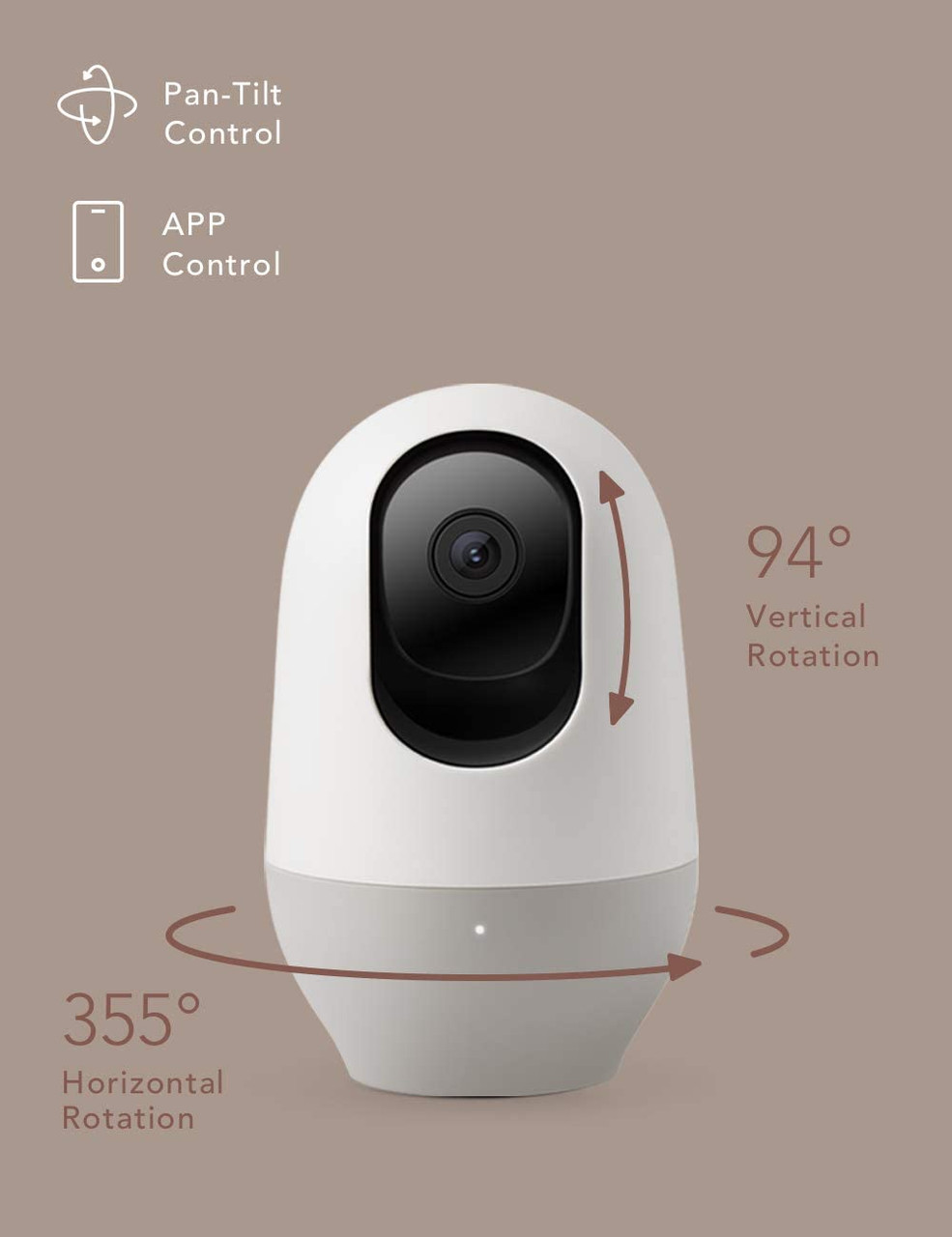 Baby Monitor, WiFi Pet Camera Indoor, 360-degree Wireless IP Nanny Camera, 1080P Home Security Camera, Motion Tracking, IR Night Vision, Works with Alexa, Two-Way Audio