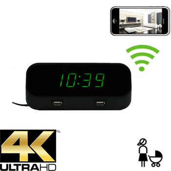 4K WIFI ALARM CLOCK W/ Wifi Dvr-Wireless Streaming Video/ Mobile Viewing/SD Card Recording