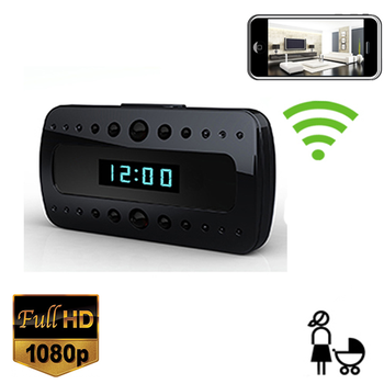 Wi Fi Alarm Clock Nanny Cam W/ Night Vision And Wireless Streaming Video/ Mobile Viewing/SD Card Recording