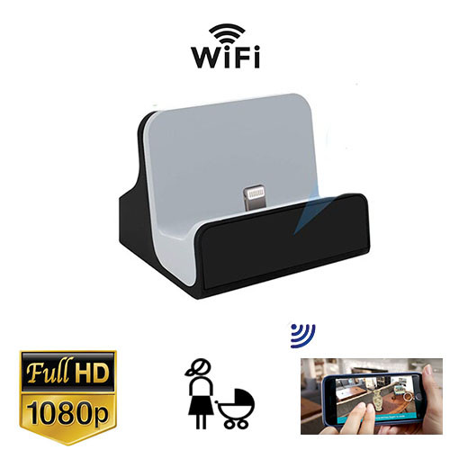 1080P Hd Phone Charger Dock WiFi Nanny Cam W/Sd Dvr Inside and Wireless Streaming Video for iPhone , PC & more (