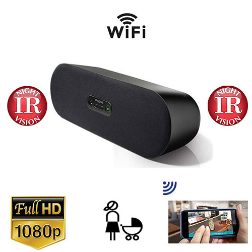 Bluetooth Speaker WiF+DVR Nanny Cam With Night Vision and Wireless Streaming Video for PC iPhone & more