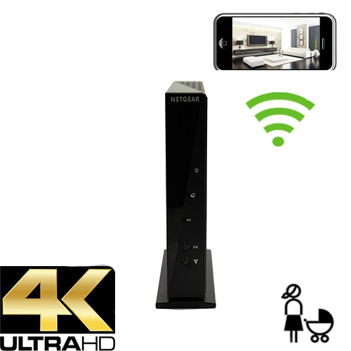4K WiFi Router Nanny Camera w/ Dvr-Wireless Streaming Video/ Mobile Viewing/SD Card Recording
