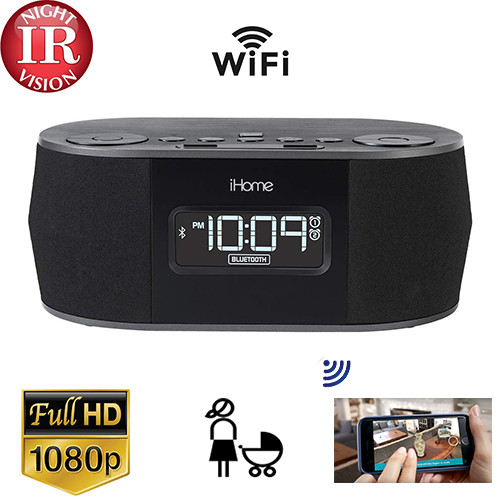 iHome Clock Radio Nanny Camera - Night Vision W/ Wireless Streaming Video/ Mobile Viewing/SD Card Recording