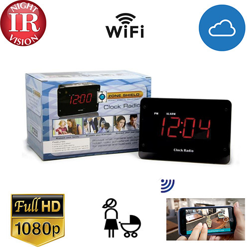 Night Vision Clock Radio WI-Fi- Live View with Cloud Recording -AC Power