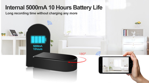 1080P Mini Black Box WiFi Nanny Camera W/ 180 Pan and Zoom and Built In Battery