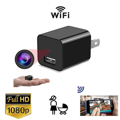USB Plug Phone Charger WiFi Nanny Cam With Live Streaming Video