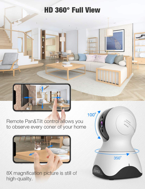 Nanny Cam Monitor with Sound Motion Detection 2-Way Audio, Pan/Tilt/Zoom WiFi Surveillance Camera, Wireless Home Baby Cam with Night Vision Works with Alexa